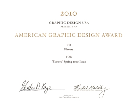 Flavors Receives an American Graphic Design Award